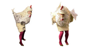 Hühnerkostüm seite und frontal
